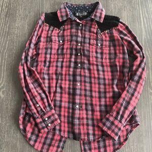 Shyanne Plaid Button Down Shirt with Lace